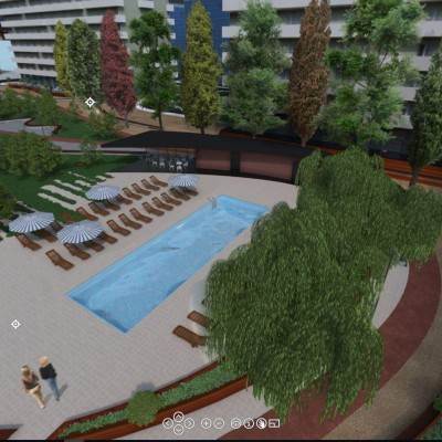 Landscaping - park, pool, and liesure area